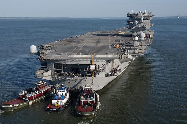 USS Enterprise CVN 65 arrival at Newport News Shipbuilding for deactivation
