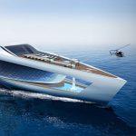 Futuristická 80 metrová super jachta s parkovištěm pro auta, vodopádem a ponorkami