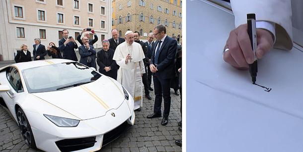 Papež dostal do daru upravené Lamborghini Huracán v hodnotě 183 000 €. To poputuje pod kladívko 1