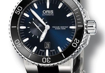 Aquis Small Second - potopěčské hodinky s modrým číselníkem a černou keramickou lunetou 5
